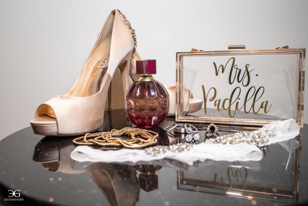 bridal shoes, bridal jewelry, perfume
